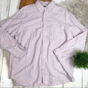 CHAPS Mens Pink Striped Casual Button Front Shirt